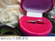 Свадебные кольца в коробочке с розами на заднем фоне, эксклюзивное фото № 1585813, снято 19 марта 2010 г. (c) Инна Козырина (Трепоухова) / Фотобанк Лори