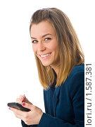 Деловая женщина с карманным компьютером. Стоковое фото, фотограф Игорь Губарев / Фотобанк Лори