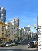 Купить «Улица с викторианскими домами в Сан-Франциско», фото № 1590121, снято 4 февраля 2008 г. (c) Валентина Троль / Фотобанк Лори