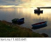 Купить «Лодки на закате», фото № 1603641, снято 26 августа 2009 г. (c) Самойлова Екатерина / Фотобанк Лори