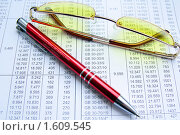 Очки, ручка, отчет (2010 год). Редакционное фото, фотограф Елена Гришина / Фотобанк Лори