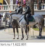 Купить «Конная милиция в Александровском саду», фото № 1622801, снято 11 апреля 2010 г. (c) Михаил Борсов / Фотобанк Лори