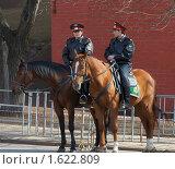 Купить «Конная милиция в Александровском саду», фото № 1622809, снято 11 апреля 2010 г. (c) Михаил Борсов / Фотобанк Лори