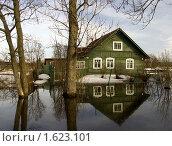 Вода наступает на деревенский дом. Стоковое фото, фотограф Ольга Спиркина / Фотобанк Лори