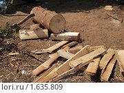 Бревно, дрова и топор. Стоковое фото, фотограф Гаянэ Григорян / Фотобанк Лори
