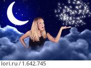 Купить «Девушка в облаках с луной и звездами», фото № 1642745, снято 16 августа 2018 г. (c) Losevsky Pavel / Фотобанк Лори