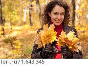 Купить «Девушка в осеннем парке с кленовыми листьями», фото № 1643345, снято 6 октября 2009 г. (c) Losevsky Pavel / Фотобанк Лори
