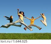 Купить «Счастливые люди прыгают на траве, коллаж», фото № 1644025, снято 7 августа 2005 г. (c) Losevsky Pavel / Фотобанк Лори