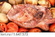 Купить «Запеченное мясо с луком и помидорами на противне», фото № 1647573, снято 23 февраля 2010 г. (c) Яков Филимонов / Фотобанк Лори
