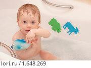 Маленький ребенок купается в ванной с пеной и игрушками. Стоковое фото, фотограф Марина М. / Фотобанк Лори