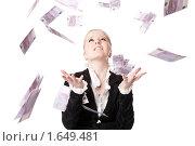 Девушка ловит деньги в воздухе. Стоковое фото, фотограф Светлана Широкова / Фотобанк Лори