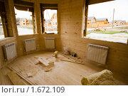 Отделка интерьера деревянного коттеджа. Стоковое фото, фотограф Миняева Ольга / Фотобанк Лори