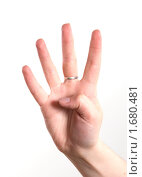 Купить «Женская рука показывает четыре пальца», фото № 1680481, снято 5 мая 2010 г. (c) Момотюк Сергей / Фотобанк Лори