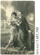 Купить «Двое. Дореволюционная открытка.», иллюстрация № 1681749 (c) Говорова Лариса / Фотобанк Лори
