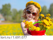Купить «Маленькая девочка с одуванчиками», фото № 1691077, снято 9 мая 2010 г. (c) Майя Крученкова / Фотобанк Лори