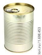 Купить «Банка консервов на белом фоне», фото № 1698453, снято 5 сентября 2009 г. (c) Boroda / Фотобанк Лори