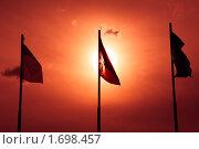Купить «Флаги на закате», фото № 1698457, снято 5 мая 2010 г. (c) Сергей Чистяков / Фотобанк Лори