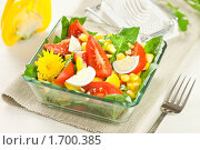 Купить «Салат из листьев одуванчика, помидоров и кукурузы с яйцом», эксклюзивное фото № 1700385, снято 11 мая 2010 г. (c) Давид Мзареулян / Фотобанк Лори