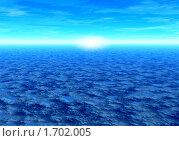 Купить «Фантастический пейзаж - голубая планета.  3d графика», иллюстрация № 1702005 (c) ElenArt / Фотобанк Лори