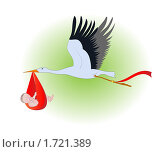 Аист с младенцем. Стоковая иллюстрация, иллюстратор Алексей Судариков / Фотобанк Лори