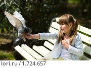 Купить «Девочка кормит голубей», фото № 1724657, снято 11 мая 2010 г. (c) Ольга Сапегина / Фотобанк Лори