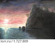 Закат на море после бури. Стоковая иллюстрация, иллюстратор Мирослав Лавренцов / Фотобанк Лори