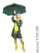 Купить «Блондинка с зеленым зонтом на белом фоне», фото № 1731797, снято 13 октября 2009 г. (c) Яков Филимонов / Фотобанк Лори