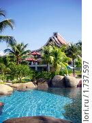 Купить «Плавательный бассейн и апартаменты отеля в тропическом раю», фото № 1737597, снято 12 мая 2010 г. (c) Татьяна Белова / Фотобанк Лори