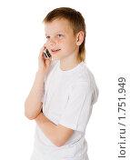 Купить «Мальчик с мобильным телефоном», фото № 1751949, снято 14 мая 2009 г. (c) Ольга Сапегина / Фотобанк Лори