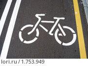 Купить «Обозначение велосипедной дорожки», фото № 1753949, снято 5 июня 2010 г. (c) Александр Филитарин / Фотобанк Лори