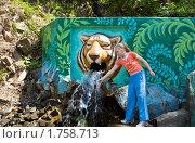 Купить «Девочка набирает воду в источнике», фото № 1758713, снято 30 мая 2010 г. (c) Владимир Шеховцев / Фотобанк Лори