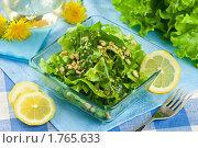 Купить «Салат из одуванчиков с кедровыми орешками», эксклюзивное фото № 1765633, снято 11 мая 2010 г. (c) Лидия Рыженко / Фотобанк Лори