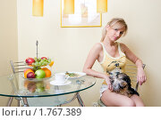 Девушка с собачкой на коленях завтракает. Стоковое фото, фотограф Михаил Лукьянов / Фотобанк Лори