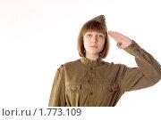 Купить «Девушка в солдатской форме», фото № 1773109, снято 7 мая 2010 г. (c) Зореслава / Фотобанк Лори