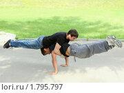 Купить «Силовое упражнение вдвоем», фото № 1795797, снято 23 июня 2010 г. (c) Татьяна Белова / Фотобанк Лори