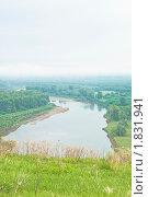 Пейзаж реки с горной вершины. Стоковое фото, фотограф Николай Бирюков / Фотобанк Лори