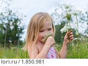 Купить «Девочка в поле нюхает цветок», фото № 1850981, снято 14 июля 2010 г. (c) LenaLeonovich / Фотобанк Лори