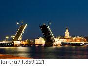 Купить «Развод мостов в Санкт-Петербурге, белые ночи», фото № 1859221, снято 3 июля 2010 г. (c) Алексей Ширманов / Фотобанк Лори