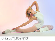Купить «Очаровательная блондинка  занимается  фитнесом», фото № 1859813, снято 19 мая 2008 г. (c) Михаил Лукьянов / Фотобанк Лори