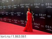 """Анджелина Джоли на московской премьере нового фильма """"Солт"""" (2010 год). Редакционное фото, фотограф Виктор / Фотобанк Лори"""