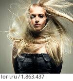 Купить «Красивая девушка с разлетающимися светлыми волосами», фото № 1863437, снято 23 марта 2005 г. (c) Майер Георгий Владимирович / Фотобанк Лори