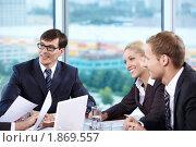 Купить «Бизнесмены в офисе», фото № 1869557, снято 17 июня 2010 г. (c) Raev Denis / Фотобанк Лори