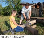 Купить «Отец и сын пилят дрова», фото № 1880249, снято 19 июля 2010 г. (c) Чернышева Лариса / Фотобанк Лори