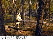 Пожарный тушит пожар в лесу (2008 год). Редакционное фото, фотограф Сергей Матвеев / Фотобанк Лори