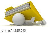 Человечек, придавленный папкой с документами. Стоковая иллюстрация, иллюстратор Алексей / Фотобанк Лори