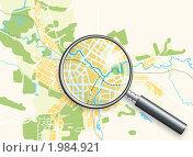 Купить «Карта города под увеличительным стеклом», иллюстрация № 1984921 (c) Одиссей / Фотобанк Лори