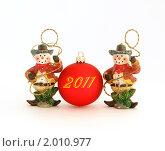Купить «Новогодние украшения на белом фоне», фото № 2010977, снято 30 сентября 2010 г. (c) Владимир Журавлев / Фотобанк Лори