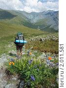Купить «Турист на Алтае», фото № 2011581, снято 26 июля 2010 г. (c) Надежда Безрукова / Фотобанк Лори