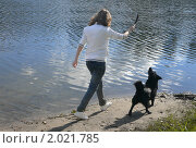 Девочка, играющая с собакой у воды. Стоковое фото, фотограф Ольга Крупская / Фотобанк Лори