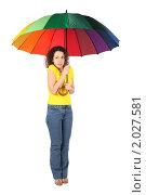 Купить «Девушка с зонтиком», фото № 2027581, снято 25 февраля 2010 г. (c) Losevsky Pavel / Фотобанк Лори
